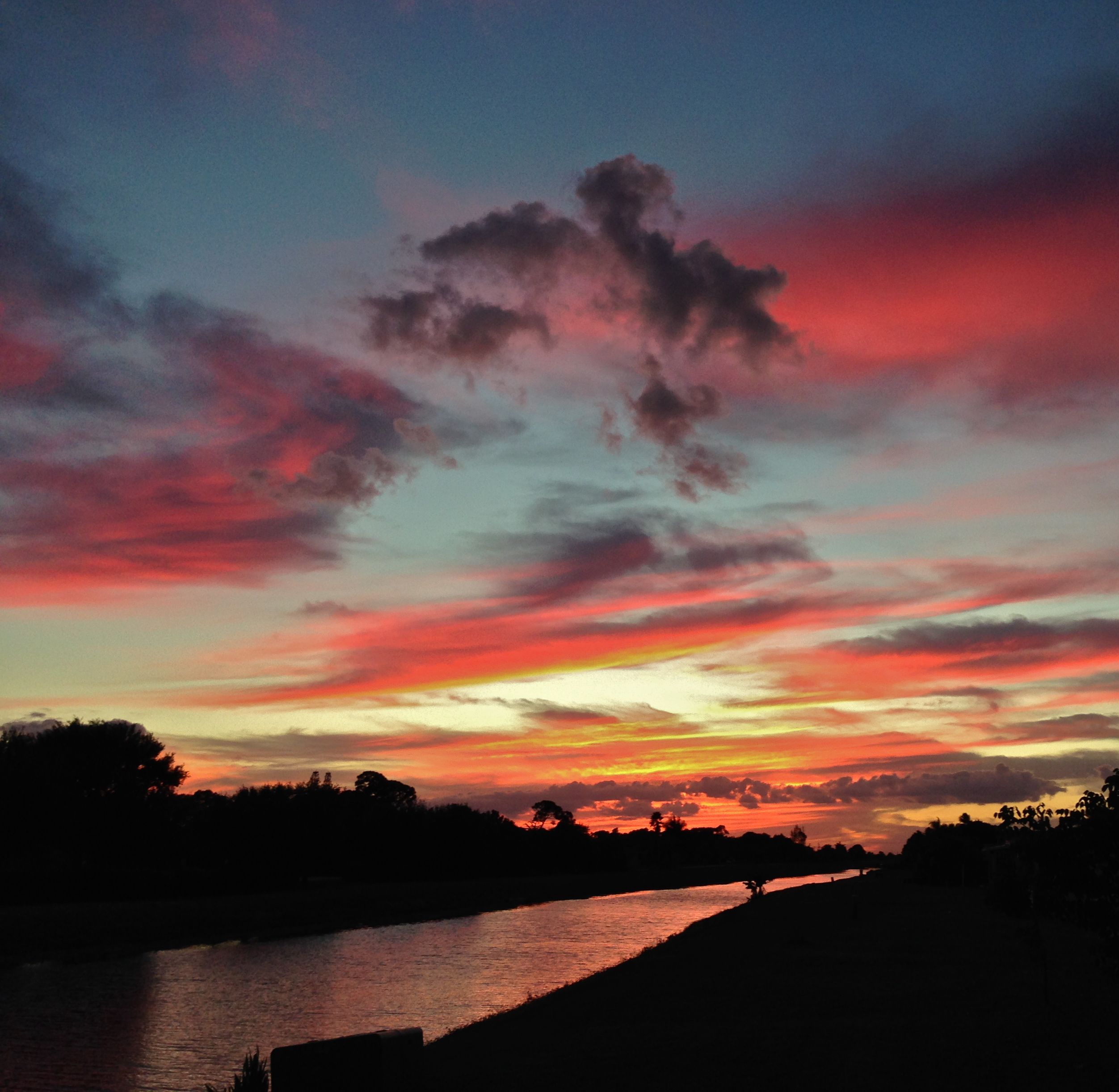 A late October sunset from our backyard in Boynton Beach, Florida.