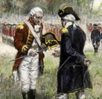 British General John Burgoyne surrendering his sword to American General Horatio Gates on October 17, 1777. This ended the Battles of Saratoga.